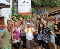 Participants of a Permaculture Design Course enjoying during a practical session